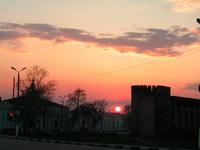 Центральная площадь на закате